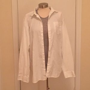 Marc Anthony White Textured Long Sleeve Shirt